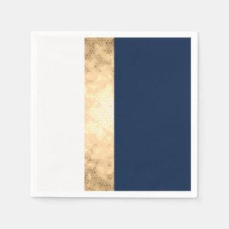 or élégant de faux, bleu marine, rayures blanches serviette en papier
