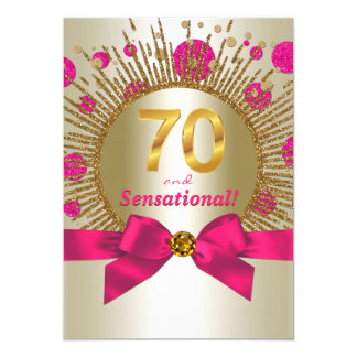 Or élégant de fuchsia de fête d'anniversaire de la carton d'invitation  12,7 cm x 17,78 cm