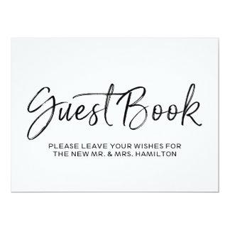 Or élégant du signe   de livre d'invité de mariage carton d'invitation  16,51 cm x 22,22 cm