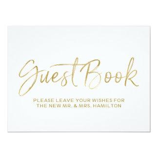 Or élégant du signe   de mariage de livre d'invité carton d'invitation  16,51 cm x 22,22 cm