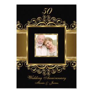 Or élégant et anniversaire noir de la photo 50 de carton d'invitation  12,7 cm x 17,78 cm