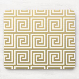 Or élégant et motif principal grec blanc tapis de souris