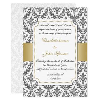 or élégant, invitation de mariage damassé