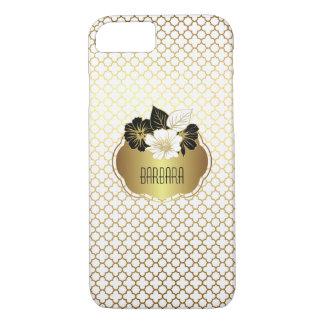 Or élégant sur le motif blanc de Quatrefoil Coque iPhone 7