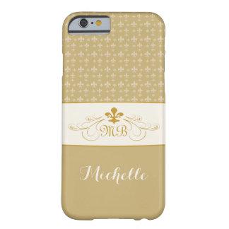 Or élégant White Fleur de Lis Coque Barely There iPhone 6