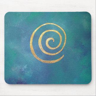 Or en spirale bleu lumineux d'infini d'archer de tapis de souris