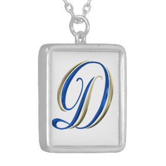 Or et bijoux bleus de collier d'initiales du