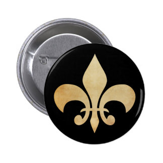 Or et Black Fleur de Lis Button antiques Badges