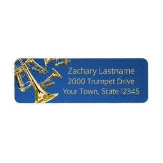 Or et bleu de manie de trompette étiquette d'adresse retour