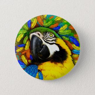 Or et boutons bleus d'imaginaire de perroquet badges