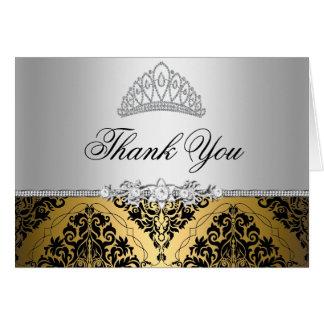Or et carte de remerciements noir de princesse