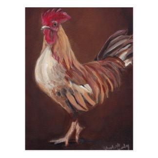Or et carte postale rouge d'art de coq