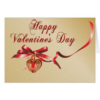 Or et carte rouge de Valentine de pendentif de