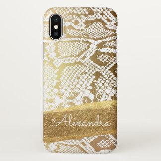Or et copie blanche de serpent avec des parties coque iPhone x
