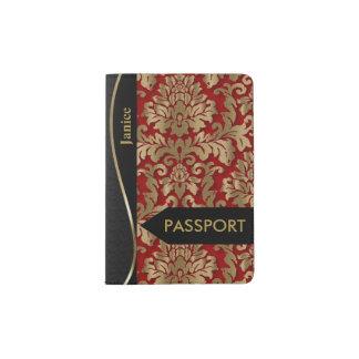 Or et damassé florale rouge-foncé protège-passeports