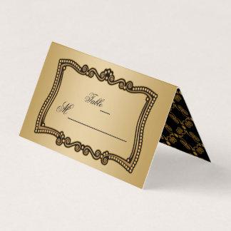 Or et élégance fleurie de noir carte de placement
