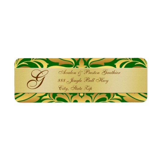 Or et étiquettes de adresse verts de Noël de