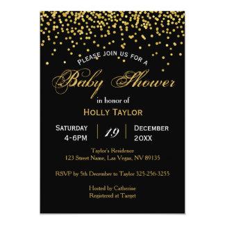 Or et invitation noire de baby shower