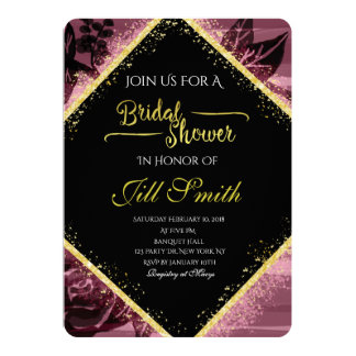 Or et invitation nuptiale pourpre de douche