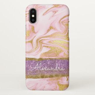Or et marbre blanc avec la feuille d'or et les coque iPhone x