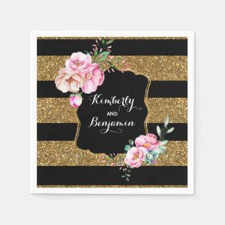 Or et mariage floral vintage rose de rayures de serviettes jetables