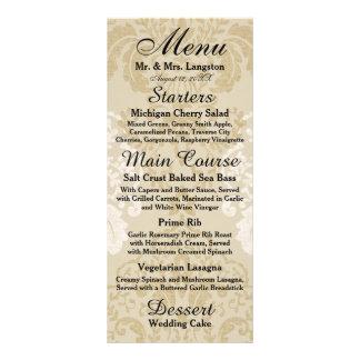 Or et menu blanc de réception de damassé