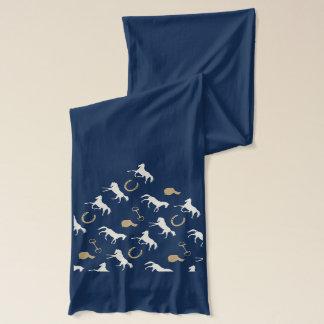 Or et motif anglais en ivoire de chevaux écharpe