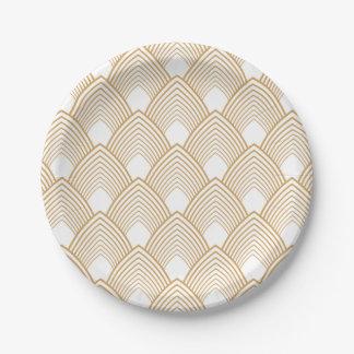 Or et motif blanc d'art déco assiettes en papier