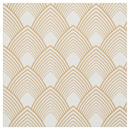 or et motif blanc d 39 art d co tissu zazzle. Black Bedroom Furniture Sets. Home Design Ideas