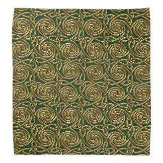 Or et motif de noeuds en spirale celtique de vert bandanas