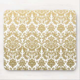 Or et motif élégant blanc de damassé tapis de souris