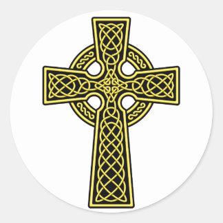 Or et noir de croix celtique sticker rond
