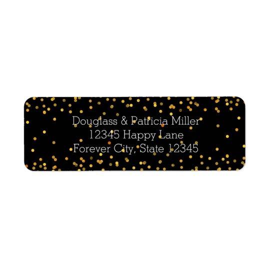 Or et points fascinants de confettis de noir étiquette d'adresse retour