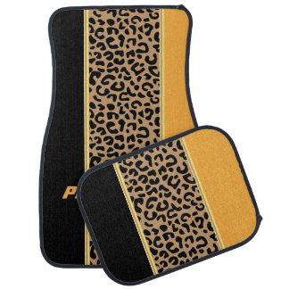 Or et poster de animal noir de léopard tapis de sol