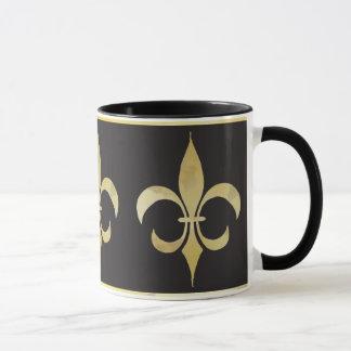 Or et tasse Fleur-De-lis noire