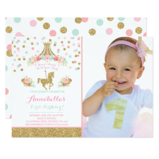 Or floral de menthe de rose d'invitation carton d'invitation  12,7 cm x 17,78 cm