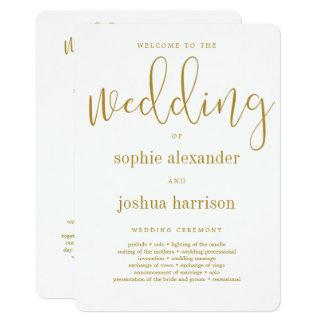 Or gracieux de programme de cérémonie de mariage