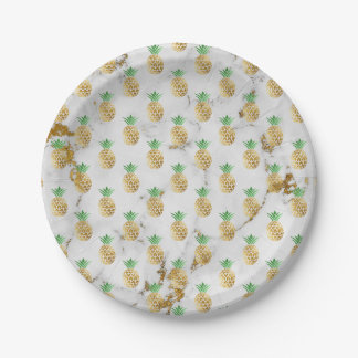 Or gris abstrait Carrare Pineappl d'or de marbre Assiettes En Papier