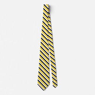 Or jaune et cravate noire de rayure d'université