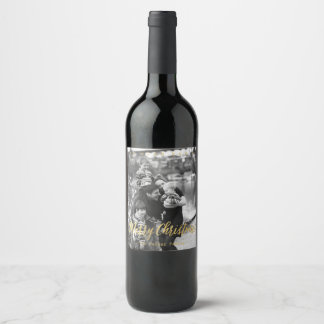 """Or """"Joyeux Noël """" d'étiquette de photo Étiquette Pour Bouteilles De Vin"""
