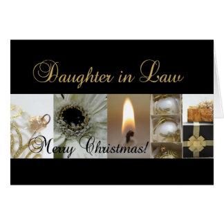 Or le Christ de noir de Joyeux Noël de belle-fille Carte De Vœux