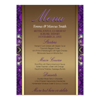 Or magique d'étincelle+Grand menu de taille de Carton D'invitation 16,51 Cm X 22,22 Cm