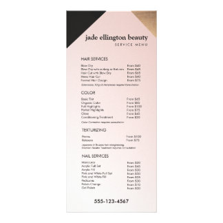 Or, menu rose de service de listes des prix de spa