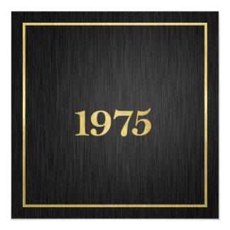 Or métallique élégant 1975 carton d'invitation  13,33 cm
