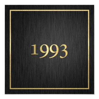 Or métallique élégant personnalisé 1993 carton d'invitation  13,33 cm