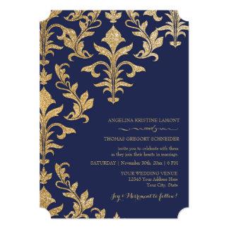 Or moderne de Faux d'invitations de mariage Carton D'invitation 12,7 Cm X 17,78 Cm