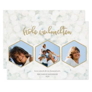 Or Moderne Frohe Weihnachten Foto d'und de Weiß Carton D'invitation 12,7 Cm X 17,78 Cm
