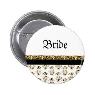 Or noir blanc mariage damassé badge