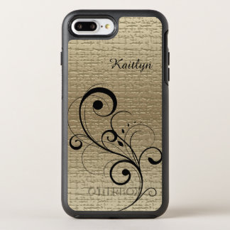Or noir de remous personnalisé coque otterbox symmetry pour iPhone 7 plus