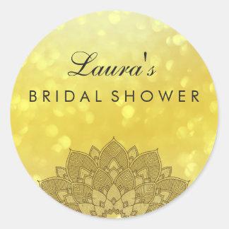 Or nuptiale de fleur de Lotus de mandala de douche Sticker Rond